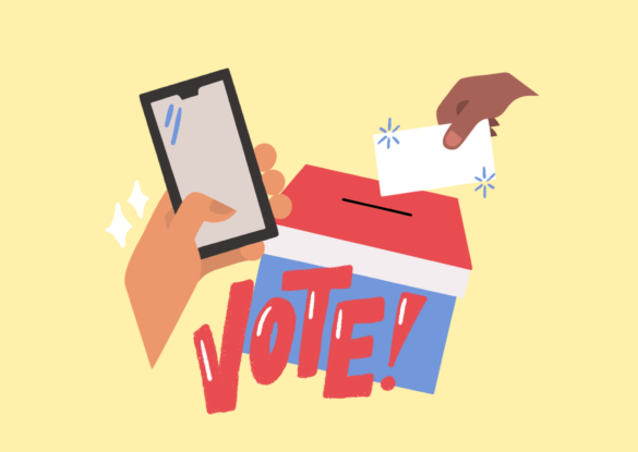 Illustration with hand dropping into ballot box that says vote