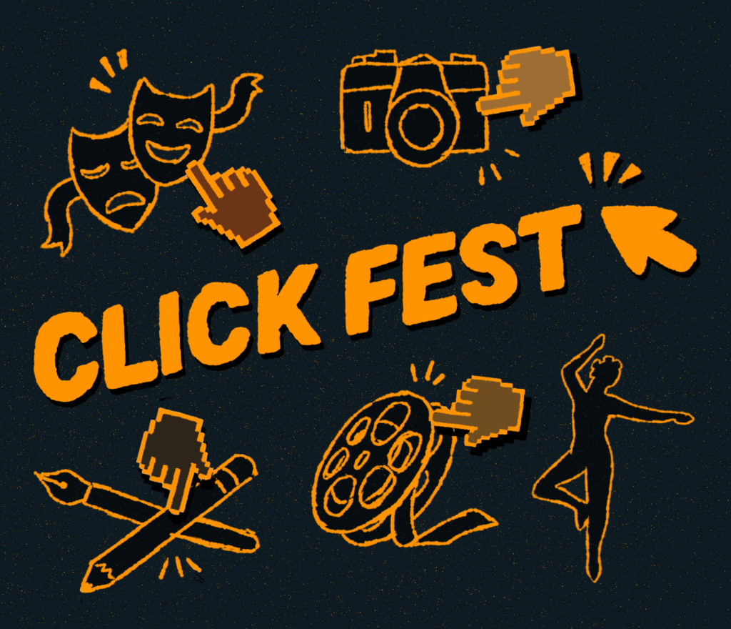 The Clickfest logo surrounded by motifs of visual arts and culture, and cursors of various skin tones.