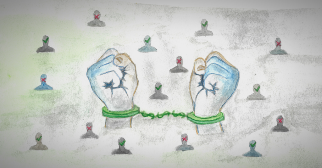 A pair of hands bound by handcuffs that represent the shackles of cash bail. Behind them are motifs of the dangers of algorithm-driven justice.