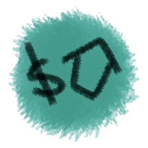 Teal circle with house icon and dollar sign
