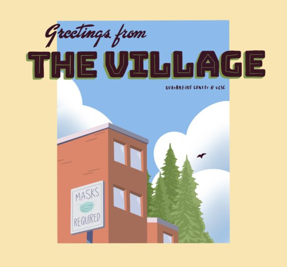 """Greeting card"" featuring The Village—UCSC's quarantine center for those who test positive for Covid-19."