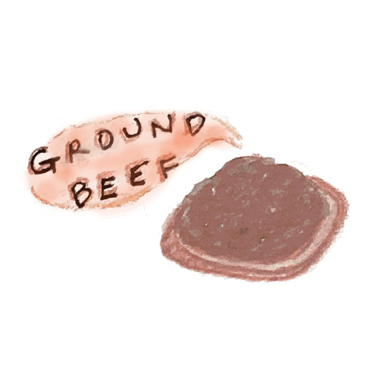 An illustration of ground beef.