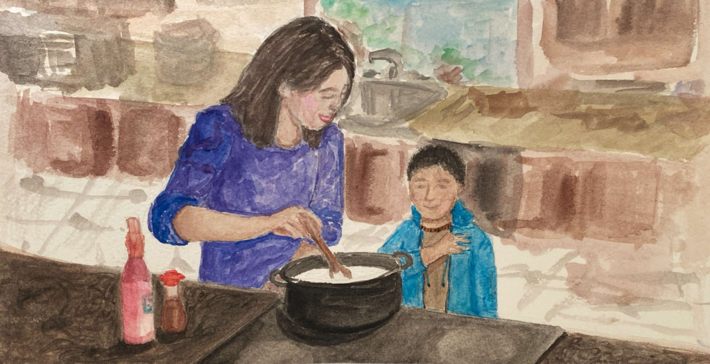 An illustration of my mom making porridge for me when I was younger.