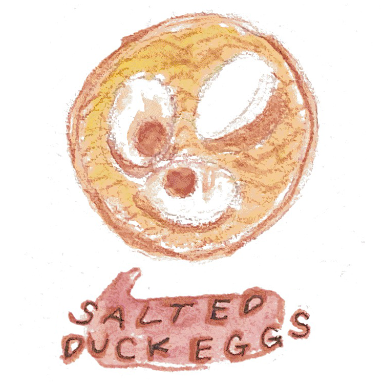 An illustration of salted duck eggs.