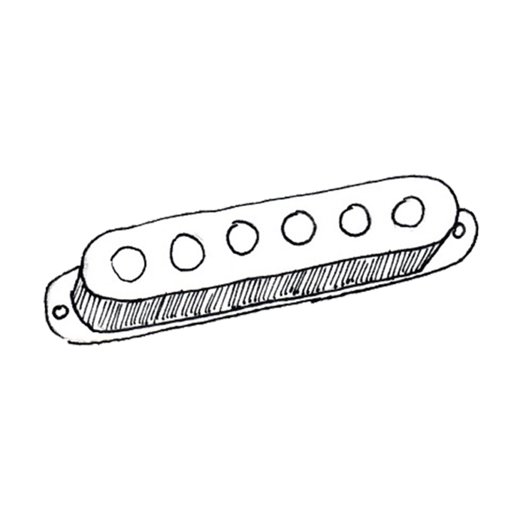 Classic single coil pickup with no cover.