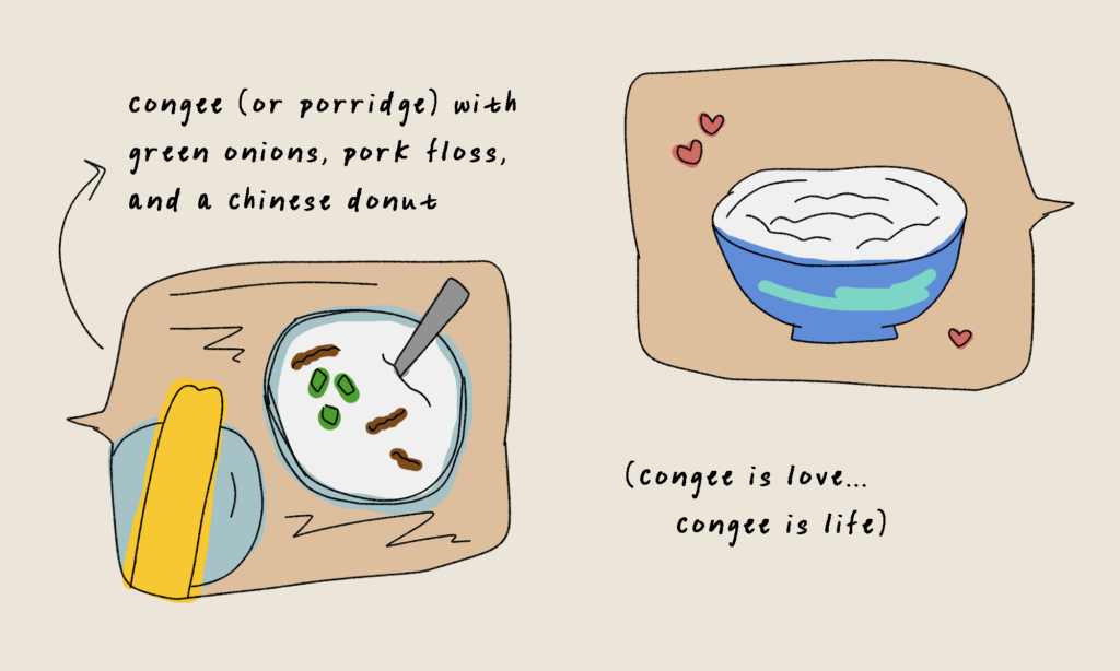 """Two bowls of congee with green onions, pork floss, and Chinese doughnuts. The text in the bottom right reads """"congee is love, congee is life"""""""
