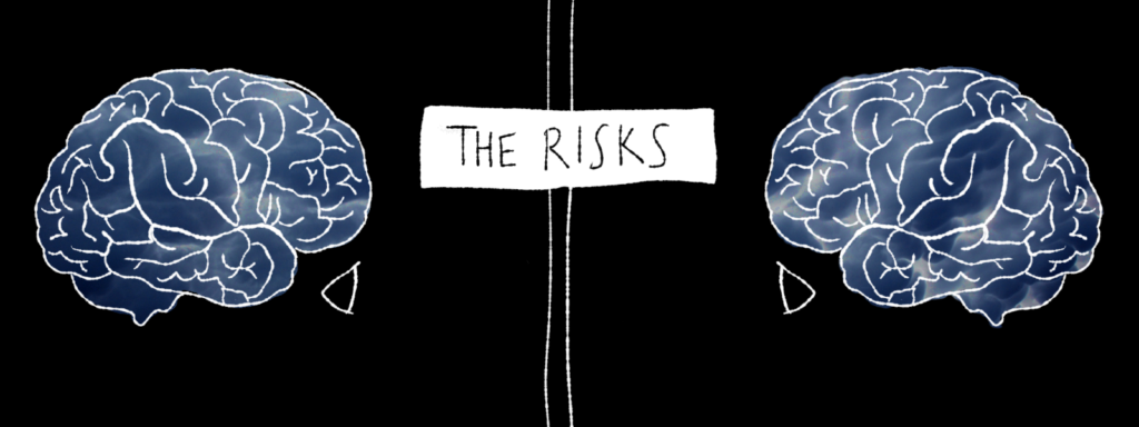 """Two minds are facing each other, but there is a barrier between them. The text says, """"The Risks."""""""