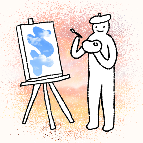 A person is smiling while painting on a canvas.