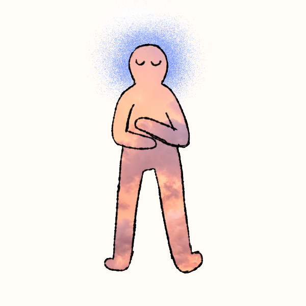 A person is lying calmly with their arms crossed over their chest.