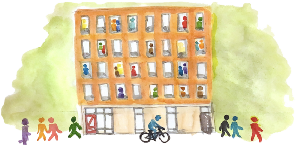 An illustration of people living at the proposed apartment building.
