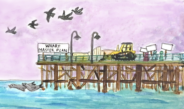 An illustration of the Santa Cruz Wharf under construction for the proposed, controversial Wharf Master Plan.