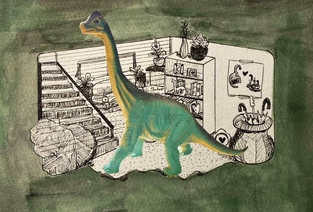 A toy Brachiosaurus is superimposed over a home backdrop.