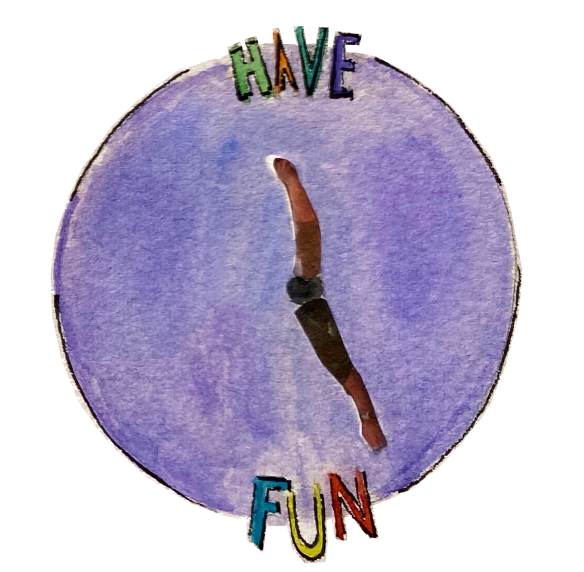 """A clock displays the words """"have fun."""""""