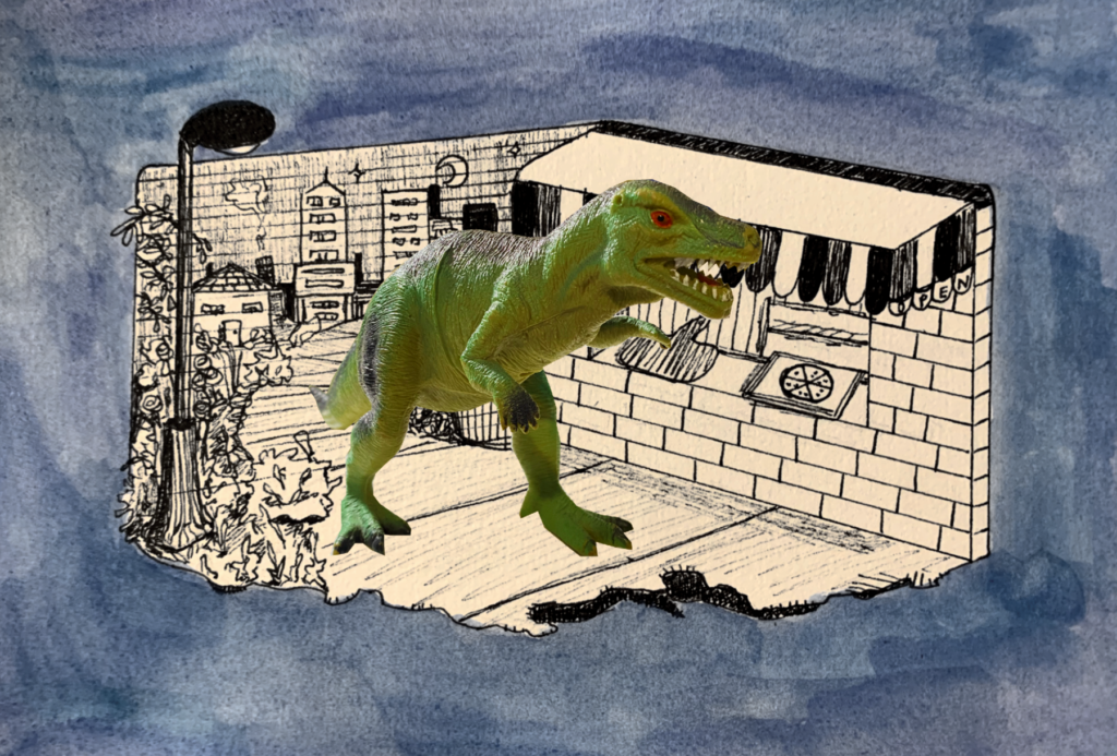 A toy Allosaurus is superimposed over a city pizzeria backdrop.