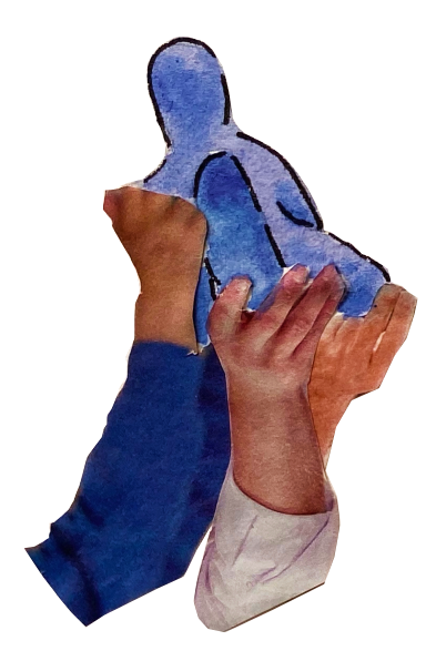 A group of hands are lifting someone up.