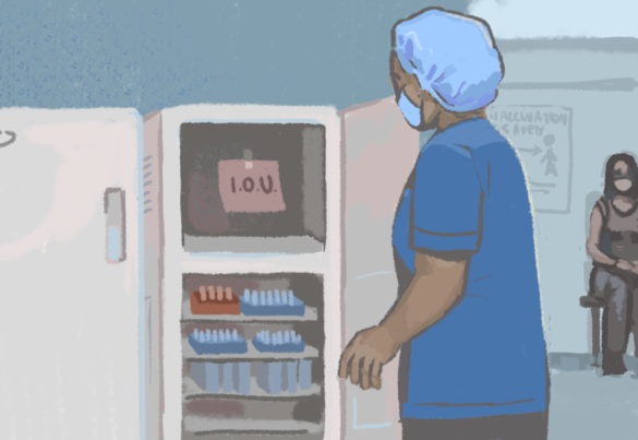"A health care worker sees an ""I.O.U."" note where the vaccine should be."