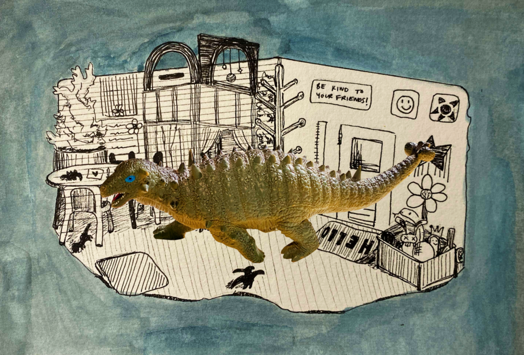 A toy Pinacosaurus is superimposed over a classroom backdrop.