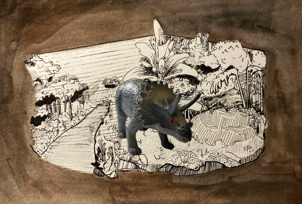 A toy Triceratops is superimposed over a prehistoric forest backdrop.