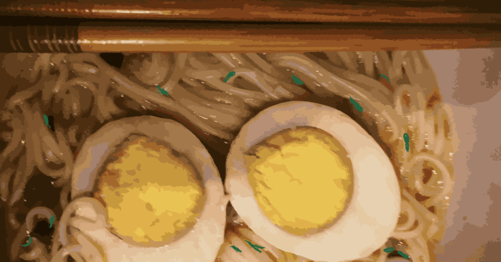 Hard boiled eggs and noodles.