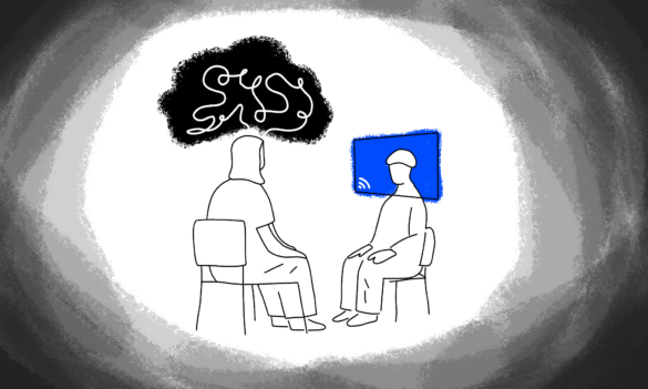 Digital illustration of an individual speaking to a therapist hiding behind a screen. Around them, a ring of dark gray shadows.