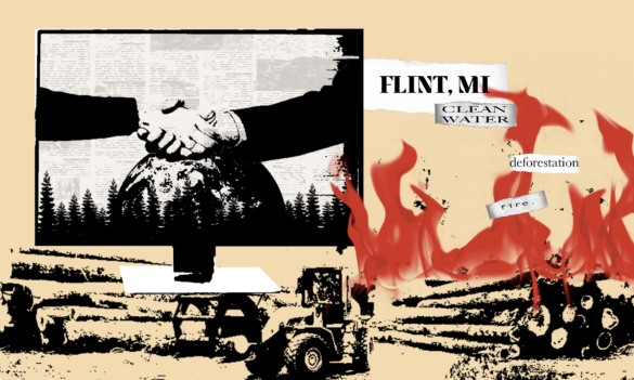 A digital collage of multiple images depicting major climate issues such as deforestation, fire, and lack of clean water.