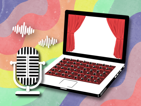 A microphone and a laptop in front of a rainbow backdrop, representing the Rainbow Theatre.