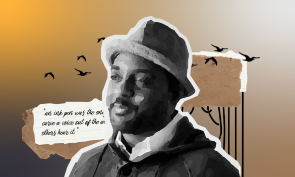 Reginald Dwayne Betts, an abolitionist poet surrounded with flying birds.
