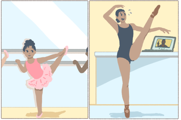 A child practicing ballet in a dance studio as a child juxtaposed with her dancing at home with online instruction.