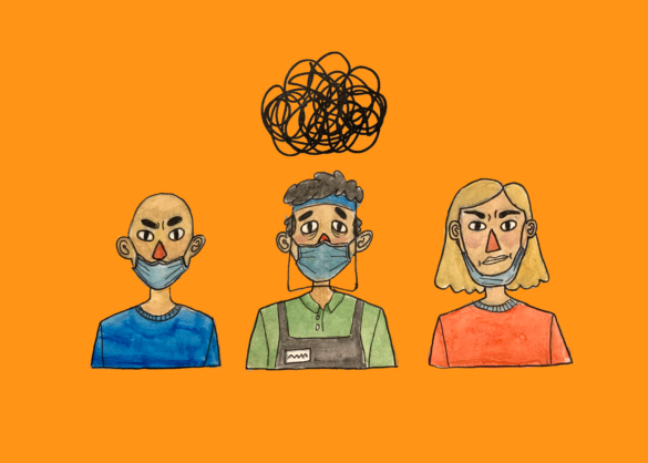 A tired worker is surrounded by two people who aren't wearing their masks properly; they are in front of an orange background.