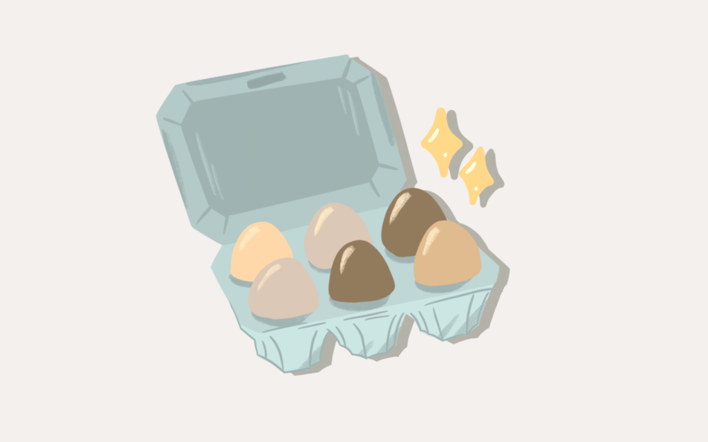 An illustration of six eggs in a carton.