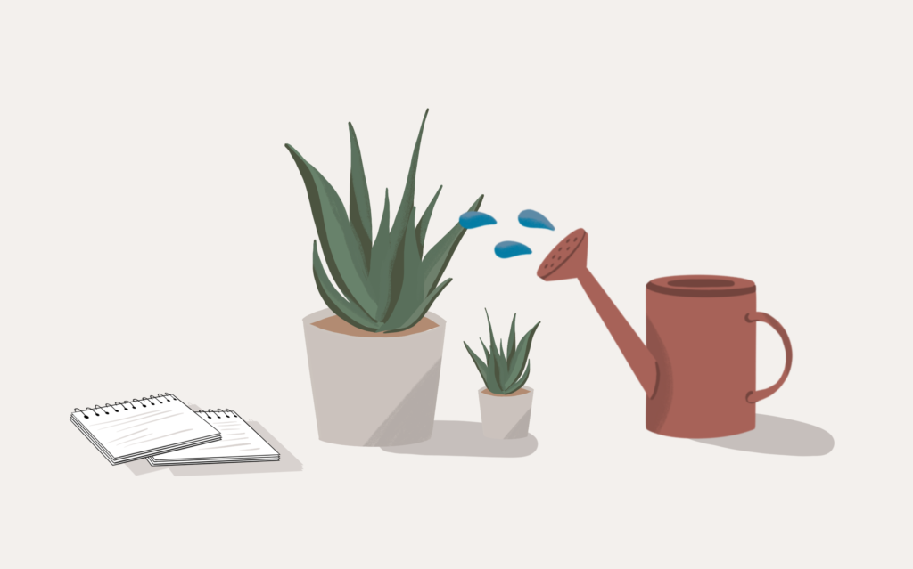 An illustration of a watering can hydrating plants.