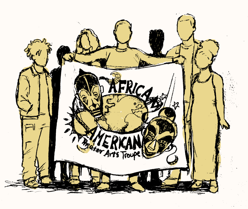 A student holds the AATAT logo banner while others stand behind it.