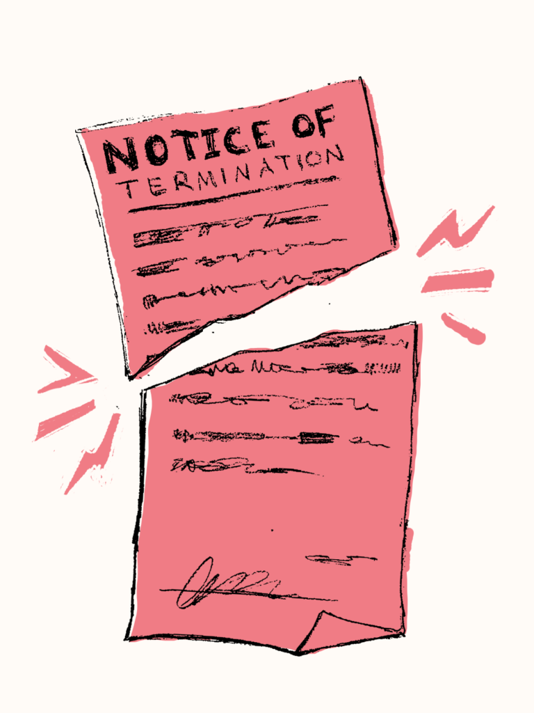 A ripped notice of termination.