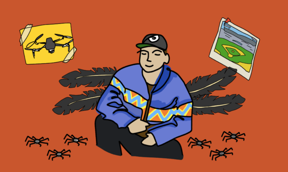 A digital illustration of writer Tommy Orange, wearing a blue jacket and surrounded by symbols from his novel: spiders, a drone, and the A's stadium in Oakland.