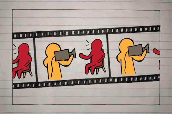 Film reel illustration of documentary interviewer and interviewee, David Hoffman.