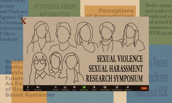 """An illustration of a Zoom panel of speakers with text that reads """"Sexual Violence Sexual Harassment Research Symposium"""""""