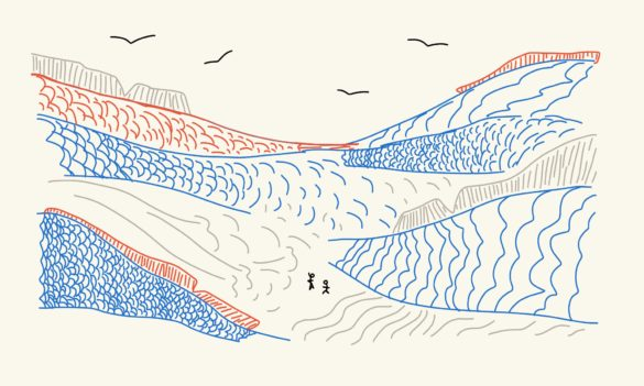 Two people stand at the center of a valley formed by the backs of fish. Scales are red, blue, and gray.