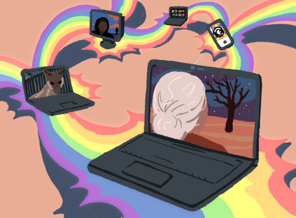 Rainbows connecting various screens with imagery from the Rainbow Theatre's collaboration with the AIRC and SANAI.