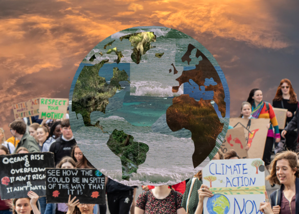A collage of the earth over a background of people marching for climate action.