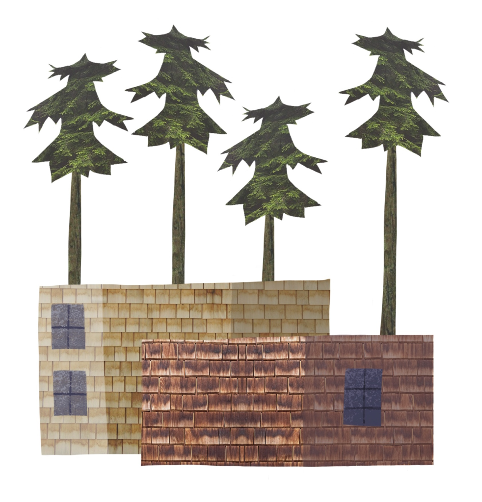 A visual of a few buildings in Oakes.