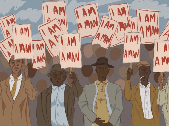 """Crowds of protestors holding signs saying """"I AM a Man"""" during the Memphis Sanitation Strike."""