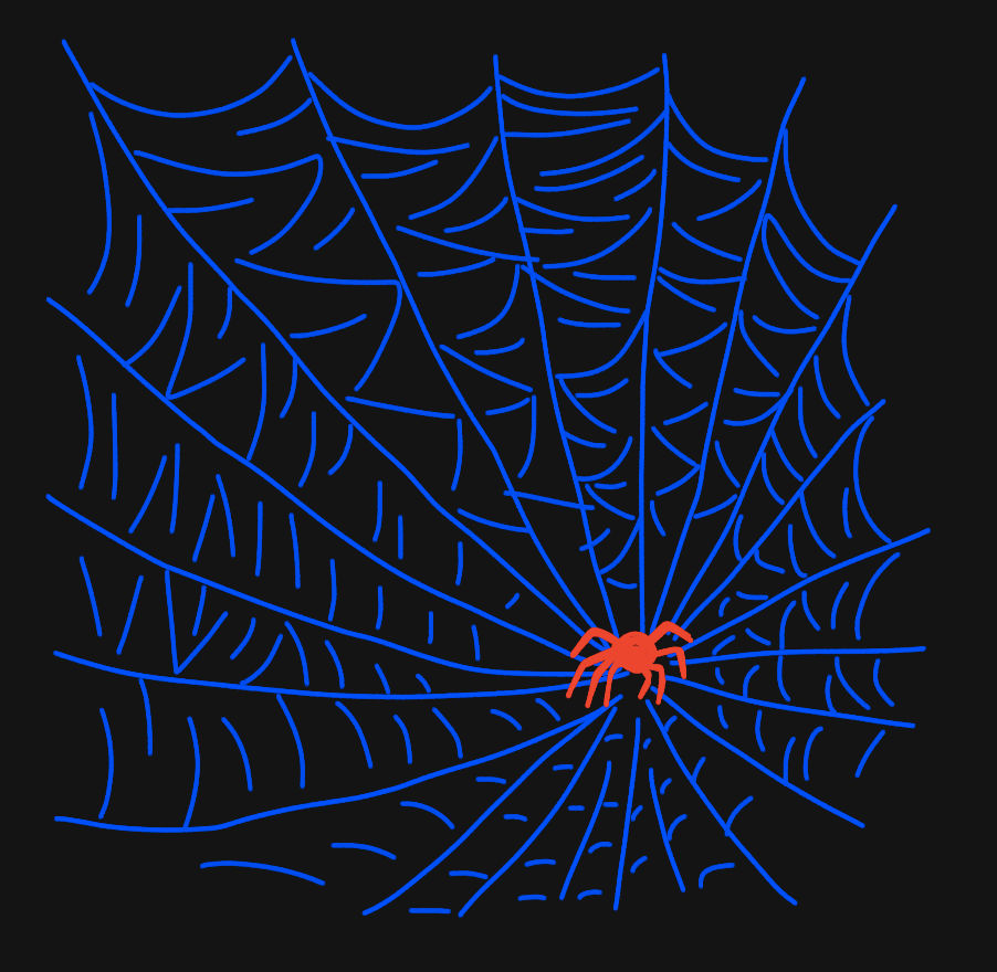 A bright blue spiderweb with a large red spider over a black background