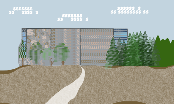 An illustration based on the proposed architectural designs for Student Housing West. Upon closer inspection, the buildings and trees appear to be made entirely out of dollar signs.