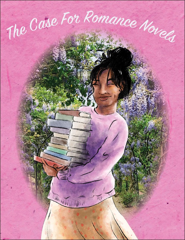 A person carrying a stack of romance novels in front of a wisteria garden.