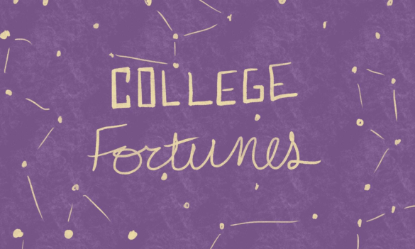 """The text """"College Fortunes"""" over a backdrop of constellations."""