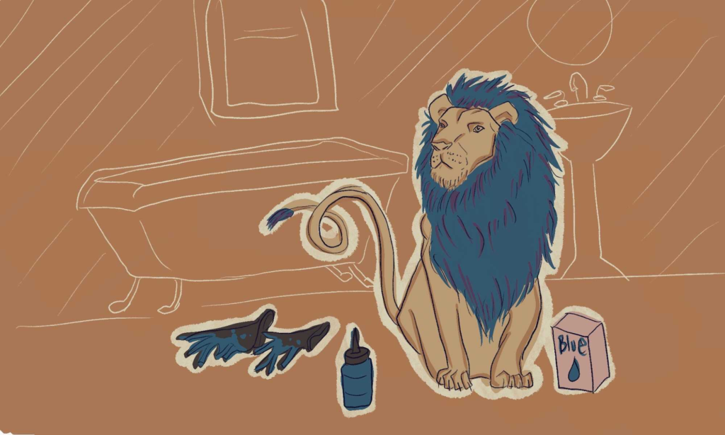 A lion dying its hair a shade of deep cerulean blue.