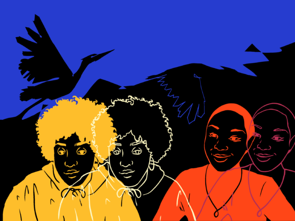 Noname and Tiffany Dena Loftin over a black and blue background with bird imagery.