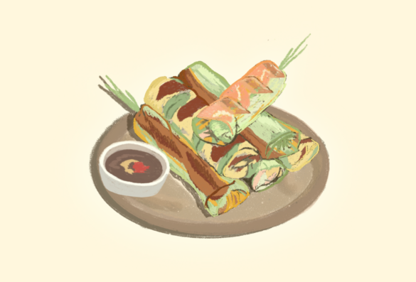 Numerous types of spring rolls are stacked on a plate next to a dipping sauce.