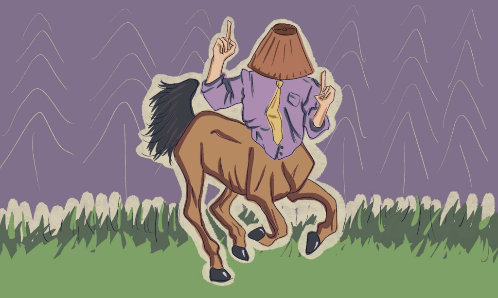A sagittarius dancing with a lampshade on their head.