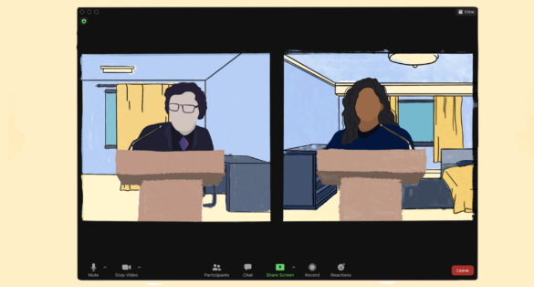 Two people on a zoom call debating behind different podiums.